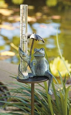 Umbrella Frog Rain Gauge. Love Frontgates frog collections.