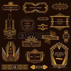 Illustration of Art Deco Vintage Frames and Design Elements - in vector vector art, clipart and stock vectors. Arte Art Deco, Moda Art Deco, Estilo Art Deco, Art Deco Logo, Deco Font, Art Deco Illustration, Corporate Identity Design, Vintage Frames, Vintage Design