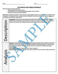 Art Criticism and Critique Worksheet Paul Klee Artwork, Art Critique, Art Criticism, Famous Artwork, Common Core Standards, Art Classroom, Teacher Newsletter, Teacher Pay Teachers, Prompts