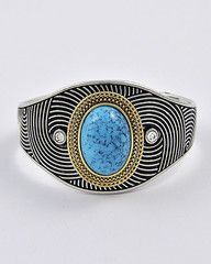 Bohemian Babe Silver and Turquoise Cuff Bracelet-$36-Find hot fashion jewellery and statement jewlry at Strike Envy. #jewellery #jewlry