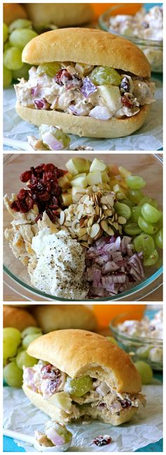 Greek Yogurt Chicken Salad Sandwich: healthy sandwich w/plump grapes, fresh apples sweet cranberries.