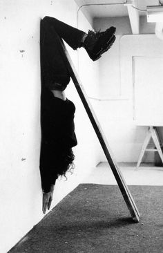 Charles Ray 1973 / two black-and-white photographs mounted on rag board / each 39 1/2 x 27 inches / 100 x 69 centimeters PERFORMANCE ART