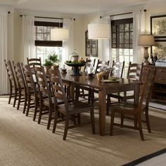 A-America Toluca 11 Piece Dining Set- this will break down (self contained leaves) to a 4 person table but it can expand to seat up to Love the simplicity ... & cool Beautiful Large Dining Room Table Seats 12 24 For Home ...