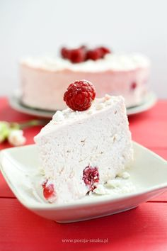 Cold Raspberry Cheesecake with Mascarpone (in Polish) Raspberry Cheesecake, Vanilla Cake, Favorite Recipes, Sweets, Cookies, Baking, Polish, Foods, Fit