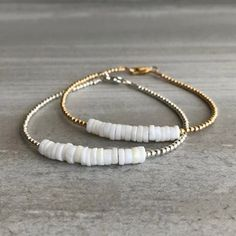 Genuine Opal Bracelet | Minimalist Bracelet with Gold or Silver Beads | White Opal Birthstones