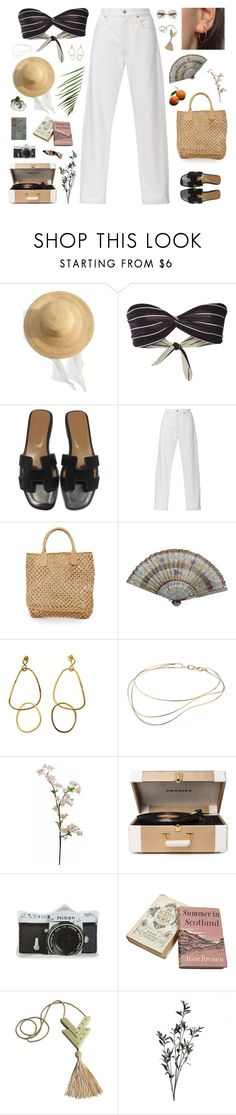 """""""Elle //"""" by prayingtosaintlaurent ❤ liked on Polyvore featuring Samuji, Solid & Striped, Hermès, Citizens of Humanity, Hat Attack, Elsa Peretti, Passport, Crosley Radio & Furniture, Nikon and Valentino"""