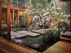 This garden takes advantage of the natural hillside by making it the backdrop for the tranquil courtyard. Outdoor Rooms, Outdoor Living, Indoor Outdoor, Outdoor Privacy, Outdoor Tiles, Outdoor Patios, Outdoor Retreat, Outdoor Gardens, Asian Garden