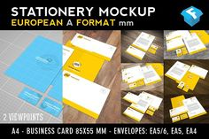 European A-Format Stationery Mockup by Fresh Design Elements on @creativemarket