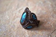 Turquoise Stone Macrame Ring