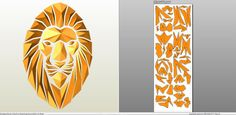 Papercraft .pdo file template for Animal - Mosaic Lion V2.