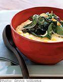 Fresh Corn Polenta with Garlic Greens. Must make.
