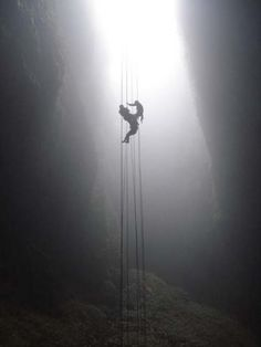 Abseiling caves