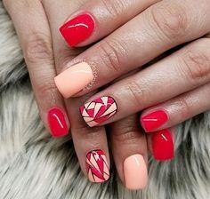 Peach and pink abstract stained glass nails Abstract Nail Art, Pink Abstract, Nail Length, Hard Work And Dedication, Funky Nails, Cool Nail Art, Nail Trends, Short Nails, Natural Nails