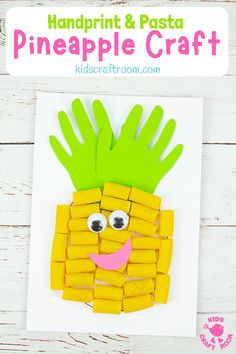 This PASTA AND HANDPRINT PINEAPPLE CRAFT is so cool for Summer! This pineapple art idea has a fabulous 3D and textured fruit with a spiky handprint top. This handprint craft is really easy and good fun and there's a FREE PRINTABLE PINEAPPLE CRAFT TEMPLATE too. #kidscraftroom #summercrafts #kidscrafts #handprintcrafts #pineapples #pastacrafts #printablecrafts Summer Crafts For Kids, Crafts For Kids To Make, Printable Crafts, Free Printable, Toddler Crafts, Kid Crafts, Daycare Crafts, Craft Projects, Craft Ideas
