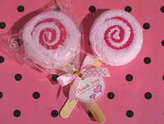 Sweet Treats Pink Lollipop Towel Favor (Cassiani Collection 6085) | Buy at Wedding Favors Unlimited (http://www.weddingfavorsunlimited.com/sweet_treats_pink_lollipop_towel_favor.html).