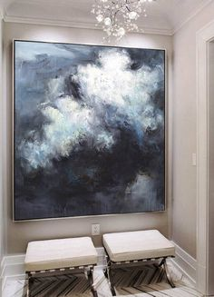Large Abstract Oil Painting Abstract Painting Cloud Painting Extra Large Wall Art Abstract Art Black White Large Canvas Art Home Decor - Painting Oil Painting Abstract, Acrylic Painting Canvas, Abstract Canvas, Large Abstract Wall Art, Painting Trees, Modern Oil Painting, Painting Flowers, Watercolor Artists, Art Flowers