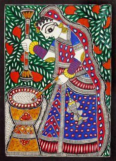 Village Woman (Madhubani Folk Art on Paper - Unframed)