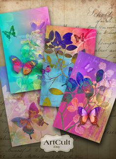 TRANQUILITY - Digital Collage Sheet Printable Gift Tags 2.5x4 inch size Greeting Cards Jewelry holders paper craft scrapbook