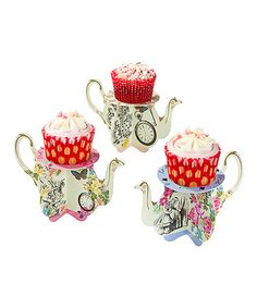Another great find on #zulily! Truly Alice Teapot Cupcake Stand - Set of 12 #zulilyfinds