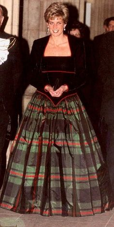 Princess Diana in a Tartan & Velvet Ball Gown ~ Christmas at Balmoral Castle, 1991
