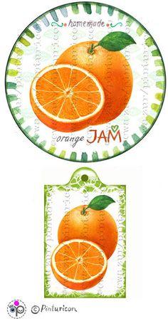 Circle jam label orange jam label printable mason by Pinturicon