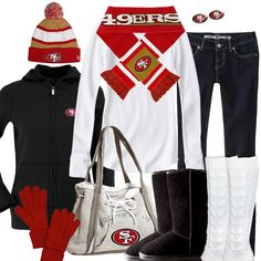 San Francisco 49ers Winter Fashion - how cute would this be for game day?!?!