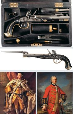 Double barrel flintlock pistol with folding bayonet presented by King George III to Sir Henry Clinton, commander of British Forces during the American Revolution. Pistol crafted by Robert Wogdon of London in 1760.