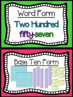 Place Value Poster, Math Place Value, Place Values, Second Grade Math, Grade 2, Third Grade, Math Fractions, Multiplication, Maths