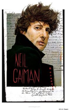 A great portrait of one of my favorite authors, Neil Gaiman, by Adrien Deggan Neil Gaiman, Literary Genre, I Love Books, Comic Artist, Book Nerd, Illustrations Posters, Illustrators, Cool Art, Comic Books