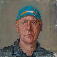 Zelfportret met schaatsmuts Pieter Pander, 30.0 x 30.0 cm, Olieverf op paneel…