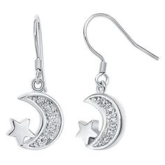 delatcha Fashion Star Bijoux Femme Long Drop Earing Moon Silver 925 Jewelry for Women White Crystal Earrings Mother Gift Ulove R362 *** Check this awesome product by going to the link at the image. Note:It is Affiliate Link to Amazon.