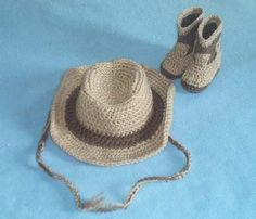HANDMADE CROCHET COWBOY COWGIRL HAT BOOTIES SET TAN & BROWN BABY TODDLER  | Clothing, Shoes & Accessories, Baby & Toddler Clothing, Baby Shoes | eBay!