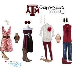 """texas aggies gameday"" by madebylori on Polyvore Yeah for game day glam fans!  http://www.rumblecosmetics.com/shopping/shopdisplayproducts.asp?id=24&cat=Texas+A%26amp%3BM+Aggies"