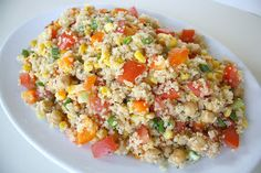 The Garden Grazer: Quinoa Vegetable Salad with Lemon-Basil Dressing. Used corn, green pepper, squash, zucchini, tomato, and chick peas...was delicious!
