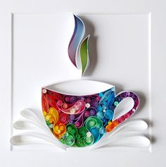 Quilling paper art design A cup of coffee or tea handmade gift home decor for her for him anniversary wedding wall art Arte Quilling, Paper Quilling Cards, Paper Quilling Patterns, Paper Quilling Jewelry, Quilled Paper Art, Quilling Craft, Paper Quilling For Beginners, Quilling Techniques, Paper Crafts Wedding