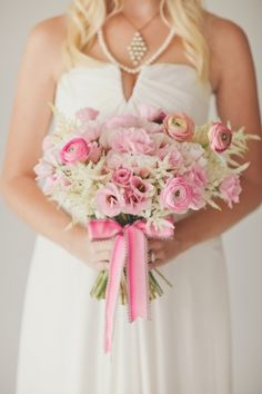 pink and cream wedding bouquet by BowsandArrowsDeluxe.com // photo by nbarrettphotography.com