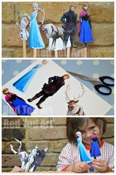 DIY simple Frozen Puppets. So quick to make.. hours of fun. My kids were DELIGHTED when they spotted their set on this kitchen table this morning!