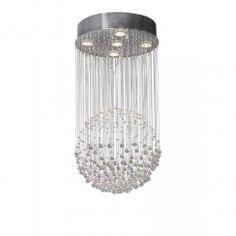 Dar EXC0550 Excelsior 5 light modern ceiling light pendant crystal and polished chrome finish
