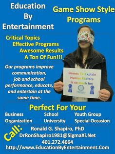 Poster promoting Education by Entertainment programs which appeared in the December 2013 issue of Thirty Something Magazine by Melissa Gregg.