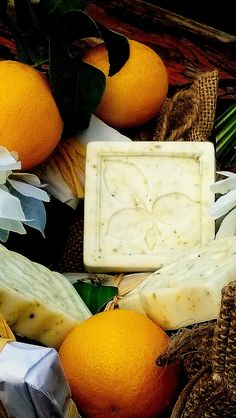 #CalmSunrise With Goats Milk Or Shea Butter, Coconut Oil, Apricot Oil and Grape Seed Oil, Citrus Fragrance Oil Blend, Sweet Almond Oil, Orange Peel and Chamomile. All Natural Ingredients.  Medium Size Bar. #Handcrafted With Love By #Neo Natural. Essential. Organics. #Soap #NaturalSoap