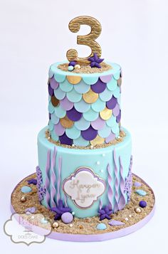 Mermaid cake featuring fondant mermaid 'scales' in shades of blue, lavender, and. Mermaid cake featuring fondant mermaid 'scales' in shades of blue, lavender, and… Little Mermaid Cakes, Mermaid Birthday Cakes, 3rd Birthday Cakes, Little Mermaid Parties, Fondant Birthday Cakes, Little Girl Birthday Cakes, Little Girl Cakes, Birthday Ideas, Birthday Design