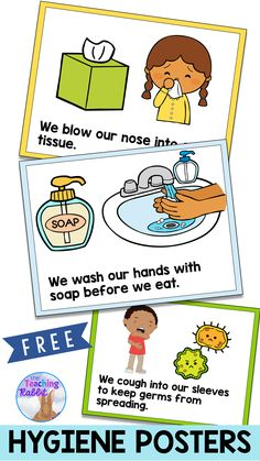 Use these FREE Hygiene Posters in your primary classroom to help remind students to wash their hands, blow their nose, and cough into their sleeve to prevent the spread of germs! Classroom Rules, Primary Classroom, Preschool Learning, Kindergarten Classroom, Future Classroom, Classroom Organization, Classroom Management, Preschool Activities, Teaching