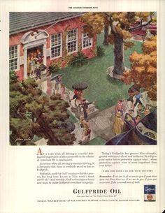 1942 Gulf Oil Ad Children Leaving School Rain Vintage Ads, Vintage Prints, Vintage Illustration Art, Illustrations, Old Advertisements, Advertising, Leaving School, Old Gas Stations, Retro Home