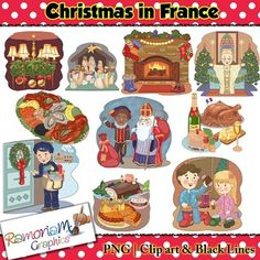 50% off till Dec 21st AEST! Christmas in France Clip art - a total of 30 images in color, black outline and black and white. Each image is PNG and 300dp Commercial use ok.