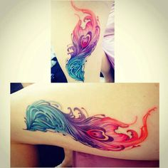 phoenix feather watercolour tattoo