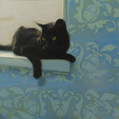 """Window Seat"" oil painting of a black cat by Diane Hoeptner."