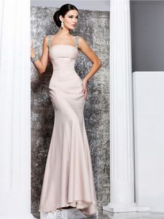 c1b1ceb977f Terrific Straps Sheath Beige Engagement Gown with Open Back Chiffon Evening  Dresses