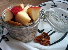 Recette porridge facile et rapide pomme pécan graines chia lait d'amande vegan (à préparer la veille)
