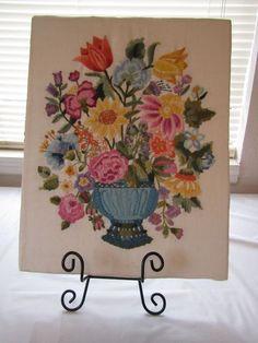 Vintage Finished Floral Crewel Embroidery Flower Arrangement English Cottage