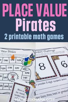This fun, pirate themed place value game collection is a great way to deepen kids' understanding of place value and also challenge them to think critically about large numbers. It includes 2 different board games, plus a more open ended place value challenge. #math #freemathworksheets #mathgames #placevaluepractice #easymathgames Easy Math Games, Math Card Games, Free Printable Math Worksheets, Fun Math Activities, Educational Activities For Kids, Kindergarten Math Worksheets, Math Resources, Free Printables, Homeschool Math